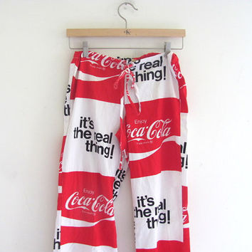 Vintage Coca Cola lounge pants // Coke is It  // textile fabric pants