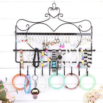 Wrought iron wall mounted frame earrings necklace holder stud earring accessories storage rack jewelry plaid pavans display rack