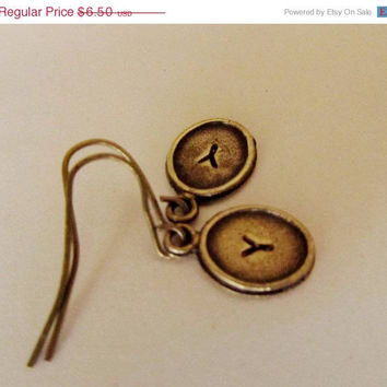 ON SALE Personalized Bronze Tiny  Earrings, Initials A-Z, Stamped with the Letter of your choice. Great Gift.