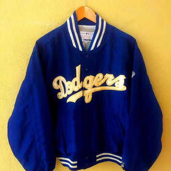 Vintage Los Angeles DODGERS Baseball Satin Blue Varsity Jacket Starter Size M