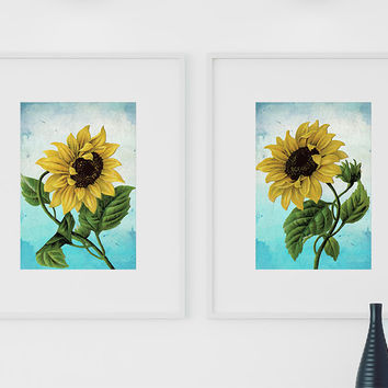 Sunflower Print Set of Two art botanical print flower Sunflowers decor floral print floral wall decor Sunflower wall art Canvas
