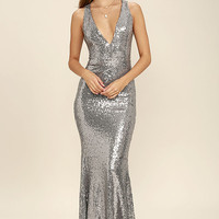 Your Luxe Day Pewter Sequin Maxi Dress