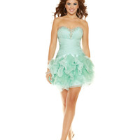 Aqua Ruched Chiffon & Tulle Beaded Strapless Homecoming Dress - Unique Vintage - Homecoming Dresses, Pinup & Prom Dresses.