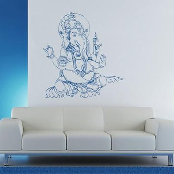 ik1810 Wall Decal Sticker Hindu elephant god Ganesh living room bedroom