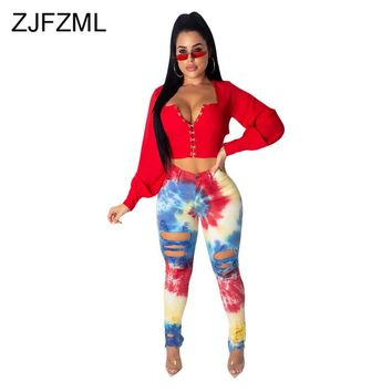 Tie Dye Sexy Plus Size High Waist Ripped Jeans
