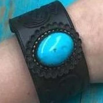 J. Forks Designs Leather and  Kingman Turquoise Bracelet~ Chocolate