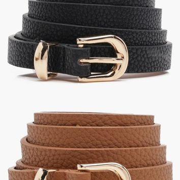 Alice Skinny Belts 2 Pack | Boohoo