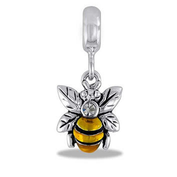 Crystal Bumble Bee Silver Dangle for Charm and Bead Necklaces or Bracelets (HH26-5)