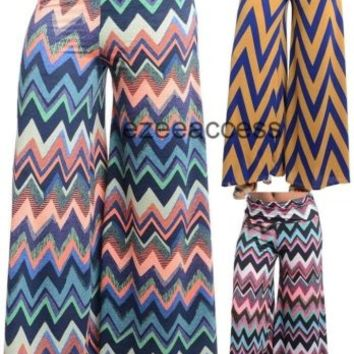 Sexy Women High Waisted Chevron Flare Wide Leg Palazzo Pants Trousers Fold Over