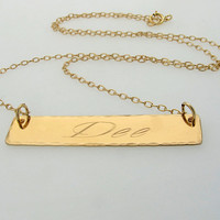 Customized Name Bar Necklace / Graduation Gift / Script Engraved Pendant / Gift for her