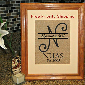 Burlap Print, Monogram, Personalized Burlap Print, Family Sign, FREE Priority Shipping!