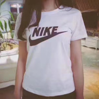 Nike Fashion Round neck White Top T-Shirt