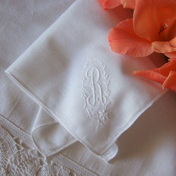 Monogrammed R Vintage Wedding Hanky Bride's Handkerchief in Ivory, Something Old, Sweet and Special Bridal Shower Gift
