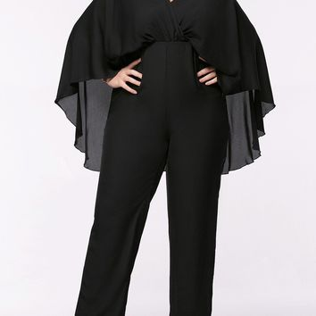 Streetstyle  Casual Cape Sleeve V-Neck Plain Straight Plus Size Jumpsuit