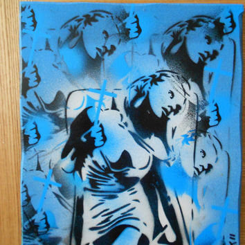 saint & sinner blue,stencilart painting on wood,design,pattern,black,white,blues,cross,religion,spray can art,abstract,urban,pop,europe,holy