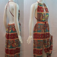 Red Bohemian / Paisley Print Halter Bow Tie Backless High Slit Maxi Dress