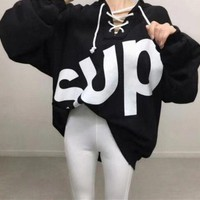 """Supreme"" Women Casual Fashion Loose Letter Print V-Neck Bandage Long Sleeve Sweater Tops"