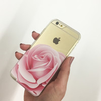Clear Plastic Case Cover Pink Rose - milkyway