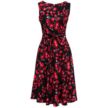 Women Cotton Vintage dress 50s60s Black Rose Floral Rockabilly Tutu Pinup Sleeveless Bodycon Evening Party Clubwear Formal Dress
