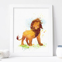 Lion King Watercolor Print, Lion Disney Baby Boy Nursery Decor, Wall Art, Home Decor, Gift Idea