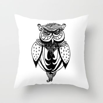 Owl Throw Pillow by PoseManikin