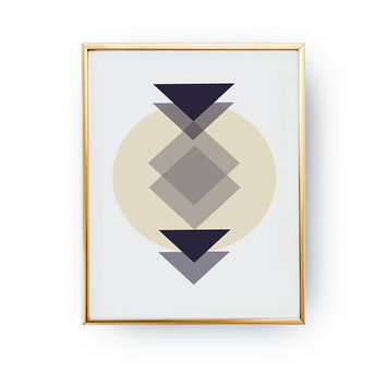 Geometric Aztec Beige Print, Office Decor Wall Art, Aztec Artwork, Boho Desert, Abstract Art Print, Wall Decor, Modern Print, Tribal Decor