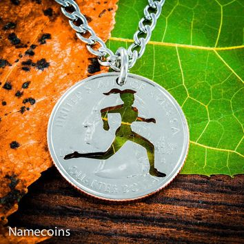 Love Running Girl necklace, Track and field hand cut coin by Namecoins