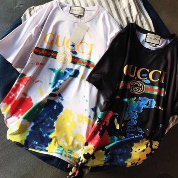"""Gucci"" Color spots Hot letters print T-shirt top"