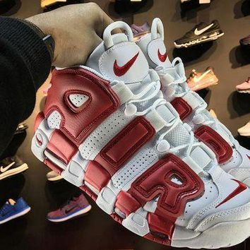 DCCKL8A Jacklish Nike Air More Uptempo White Red Mens And Girls For Sale