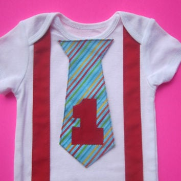 Boy first birthday outfit, Boy red suspender shirt, Boy first birthday bodysuit, baby red gold suspender outfit, boy blue striped tie shirt