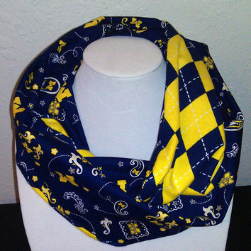 Michigan Wolverines Infinity Scarf - Blue & Yellow Cotton Flannel Cowl for Woman - College NCAA