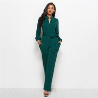 Tie Waist Shirt Detail Jumpsuit Elegant Straight Leg Jumpsuits Women High Waist Long Sleeve Jumpsuit
