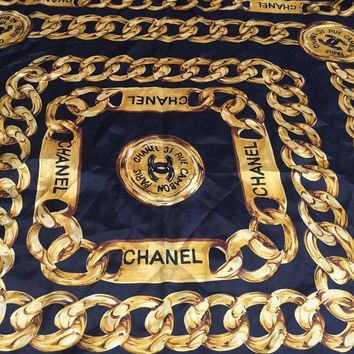 DCCKWA2 Chanel 31 Rue Cambon Paris Silk Scarf, Black, Gold Chain, Rare