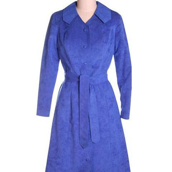 Vintage Ultra Suede Ladies Spring Coat/Dress  Bright Blue 1970s Small