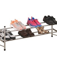 WILSHINE 2 Tier Shoe Rack Organizer, Expandable and Stackable, for Closet/Entryway, 10 Pair, Metal and Silver