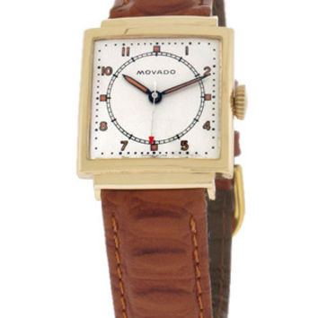 Pre-Owned Movado 14K Gold Doctors Watch - Square Case - White Dial