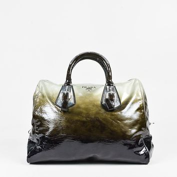 Prada Black Green Silver Patent Leather Ombre Satchel Handbag