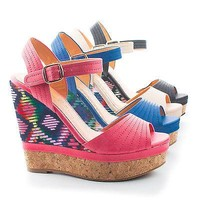 Betty8 By Blossom, Tribal Peep Toe Sling back Corkscrew Platform Wedges