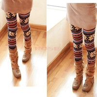 Knitted Colorful Soft Comfortable Crystal Pattern Leggings Tights Pants  1972 Trousers One size = 1745364932