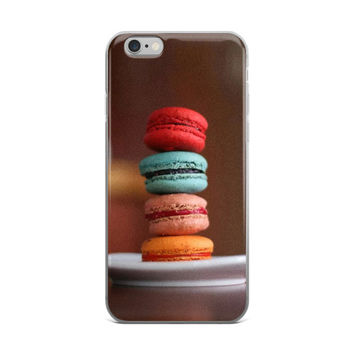 French Macaroons Color Burgers Dessert Food Lovers Red Blue Pink & Orange Brown iPhone 4 4s 5 5s 5C 6 6s 6 Plus 6s Plus 7 & 7 Plus Case