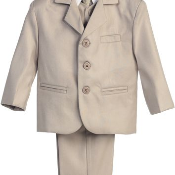 Boys Khaki 5pc Dress Suit w. 3-Button Jacket 6m-14