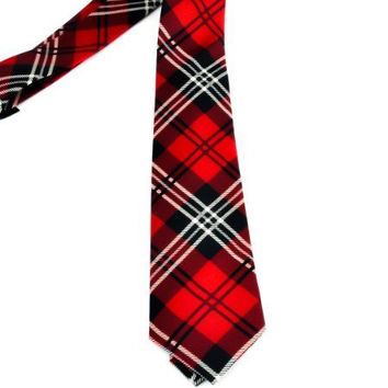 Red Plaid Necktie Gothic Punk Deathrock Rockabilly tie