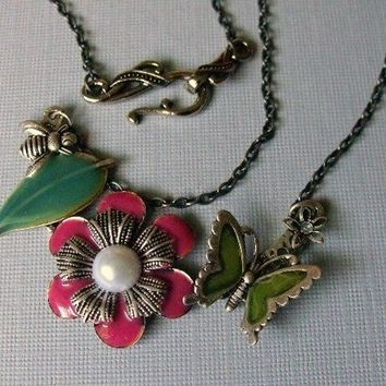 SALE - Flower Garden Necklace, Flower Cluster Necklace
