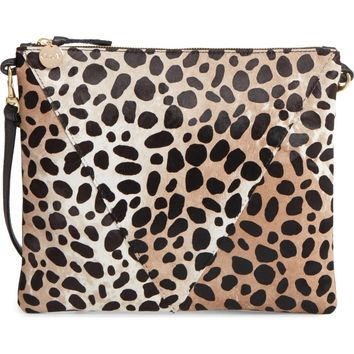 Clare V. Leopard Print Genuine Calf Hair Crossbody Bag | Nordstrom