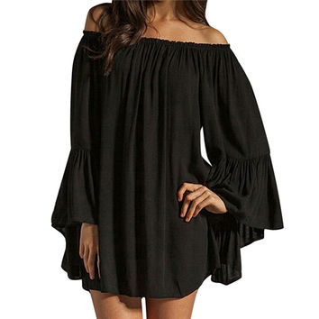 S-XXL 2 Color 2014 Women Sexy Off The Shoulder Chiffon Pleated Long Loose Mini Short Evening Dress