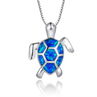 Sterling Silver Turtle W. Blue and Green Fire Opal Eye Pendant Necklace