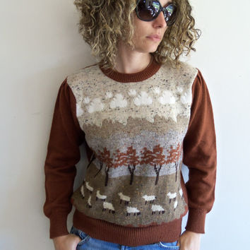 Vintage Brown Valley Sheep Grazing Unisex Knit Sweater