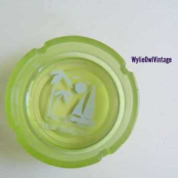 Vintage Lime Green Outer Banks NC Glass Ashtray by WylieOwlVintage