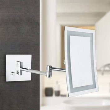 Square Wall Mounted Mirror Single Side with 3x Magnification,LED Light, Chrome Finish Wall Mounted Makeup Mirror