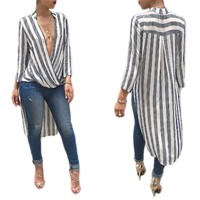 Women Elegant Striped Long Shirt Dress Long Sleeve Loose Blouse V Neck Ladies Autumn Casual Tops Blusas